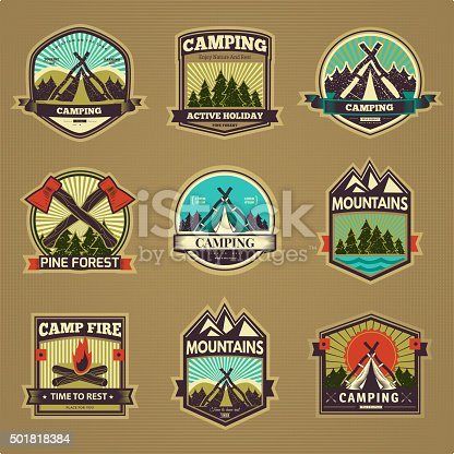 Retro vector vintage camp label graphics. Camping outdoor, adventure and explorer. Simple and nice design. Travel and Exploration the world
