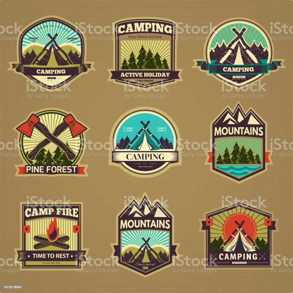Vector camp label vector art illustration