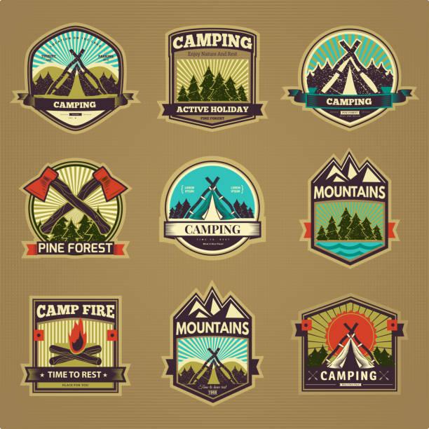 Vector camp label vector art illustration