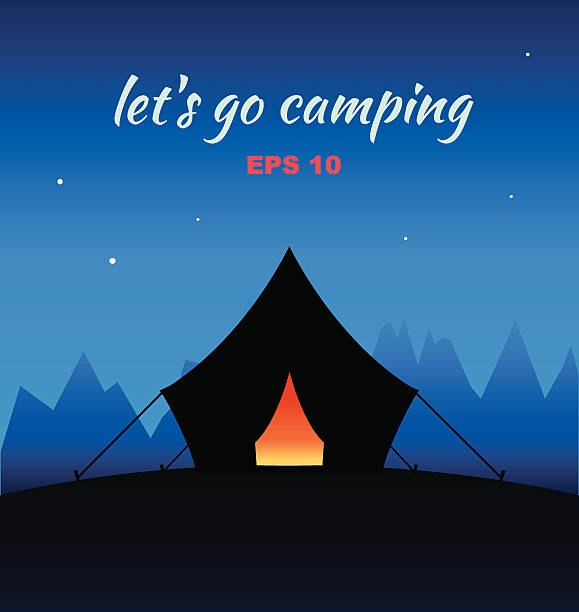 Vector Camping Concept Night Silhouette With Tent ...