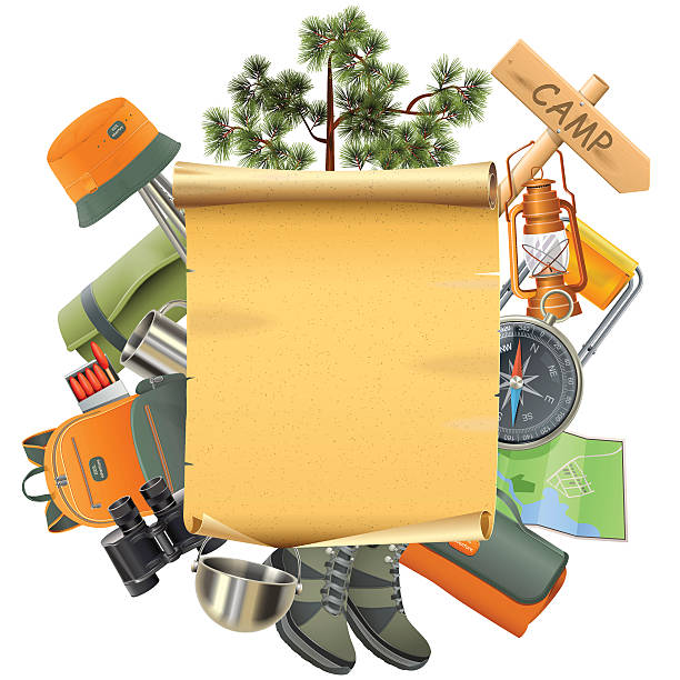 Vector Camping Concept with Scroll Vector Camping concept with boots, panama, compass, backpack, binoculars, kettle, mug, mat, safety matches, kerosene lamp, pointer and pine tree, around the paper scroll, isolated on white background adventure borders stock illustrations