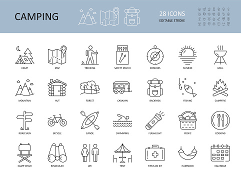 Vector camping icons. Editable Stroke. Summer camping hiking canoe mountains. Landscape forest tent caravan. Bonfire matches grill cooking on a bonfire. Picnic hammock backpack binoculars map