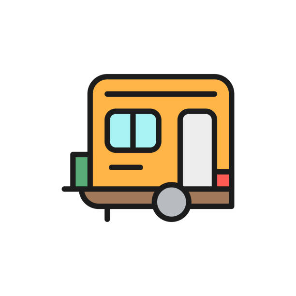 Vector camping trailer, caravan, camper flat color line icon. Vector camping trailer, caravan, camper flat color line icon. Symbol and sign illustration design. Isolated on white background rv interior stock illustrations