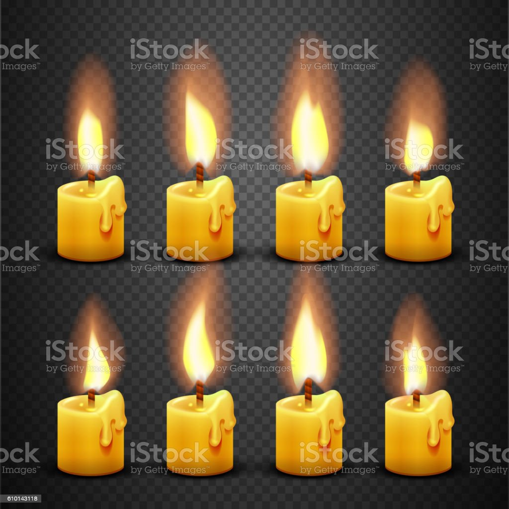 Vector candle with fire animation on transparent background vector art illustration