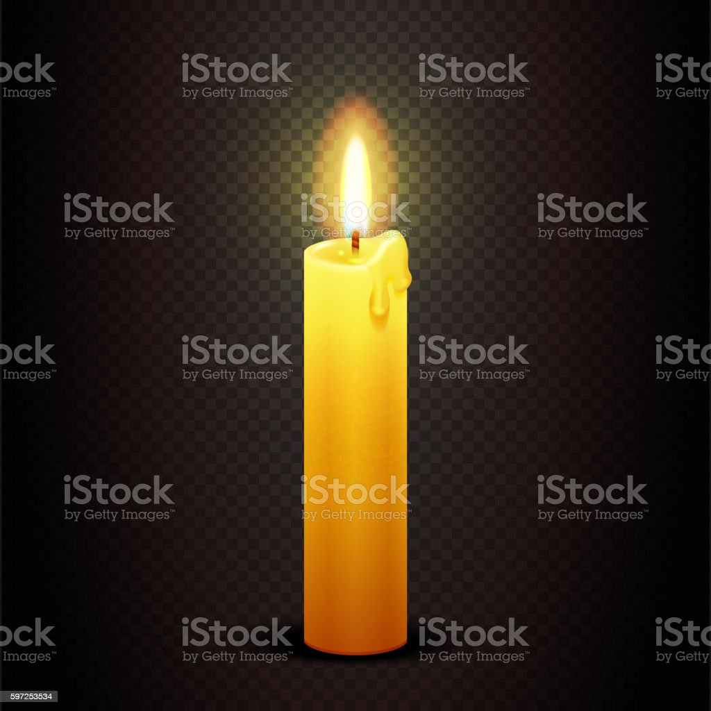 Vector candle with flame on transparent checkered dark background, candlelight vector art illustration