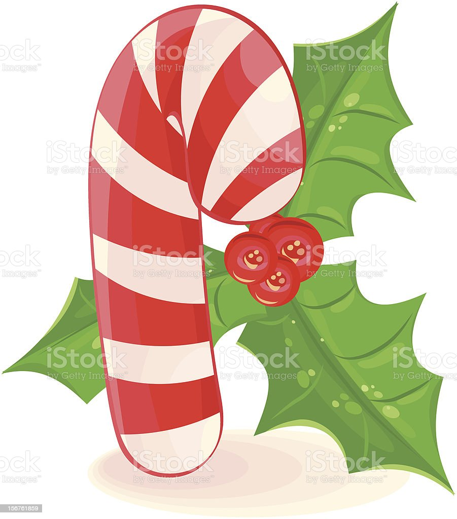 Vector Candy Cane and mistletoe