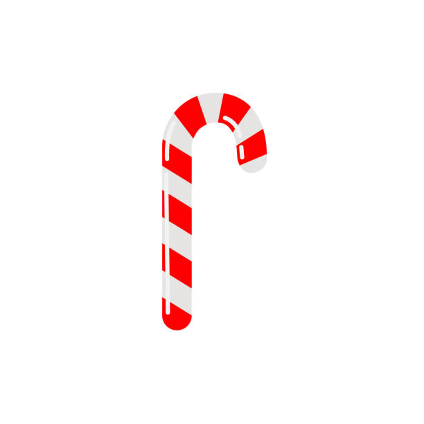 Vector candy cane icon Candy cane icon in flat style. Vector illustration isolated on white background candy clipart stock illustrations