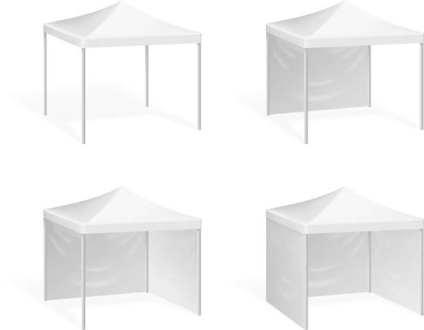 vector canopy. pop up tent for outdoor event - dachzelt stock-grafiken, -clipart, -cartoons und -symbole