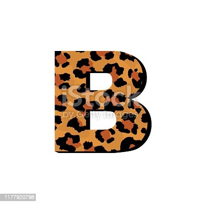 Vector capital letter B with wild leopard skin print isolated on white background. Letters of Alphabet of African wild animal realistic skin. Alphabet for logo, print, posters, invitation, banner.