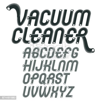 Vector capital modern alphabet letters set. Trendy rounded italic font, script from a to z can be used in art  poster creation. Created using dimensional vacuum pipe style.