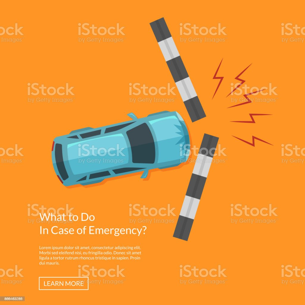 Vector Car Accident With Footpath Top View Illustration