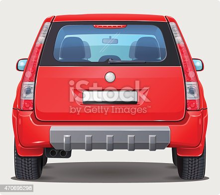 Vector illustration of red car from rear view. It's SUV or Off road car type - bigger personal vehicle. This is version with visible interior.