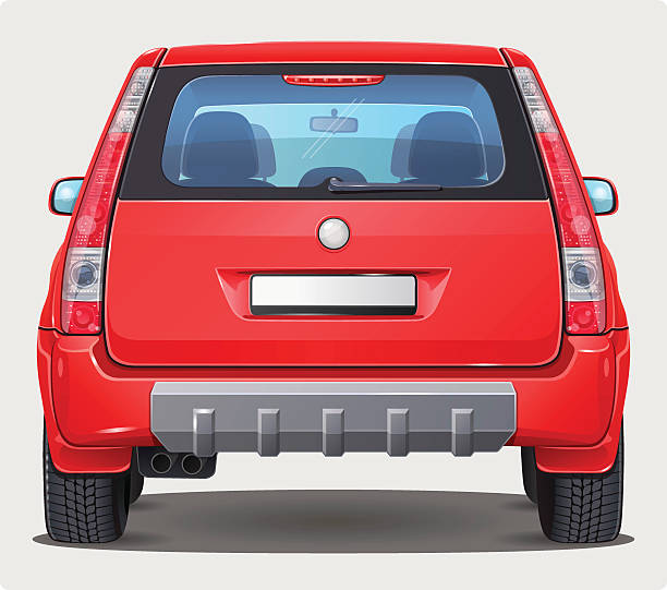 Vector Car - Back view Vector illustration of red car from rear view. It's SUV or Off road car type - bigger personal vehicle. This is version with visible interior. back stock illustrations