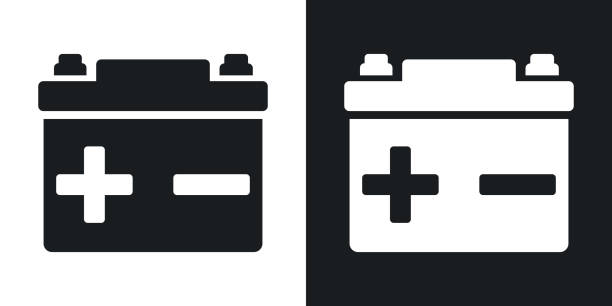 Vector car battery icon. Two-tone version – Vektorgrafik