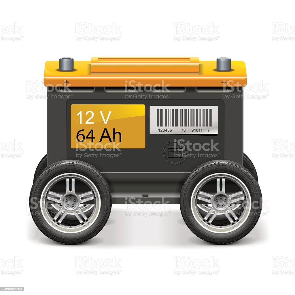Vektor Autobatterie auf Rädern – Vektorgrafik