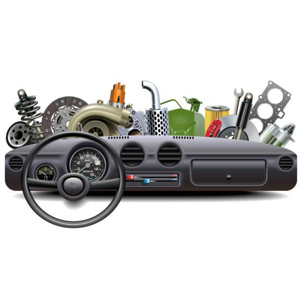 Vector-Auto-Armaturenbrett mit Ersatzteilen – Vektorgrafik