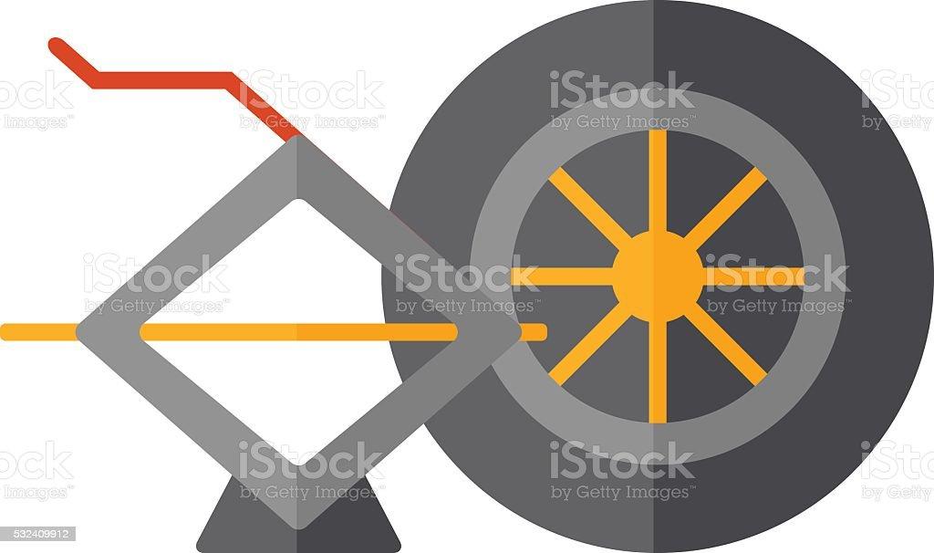 vector car jack and wheel stock vector art more images of alloy rh istockphoto com Auto Body Repair Logos Auto Repair Business Logo Design