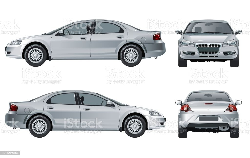 Vector car mockup isolated on white Vector car mockup isolated on white. Available EPS-10 vector format separated by groups and layers Automobile Industry stock vector