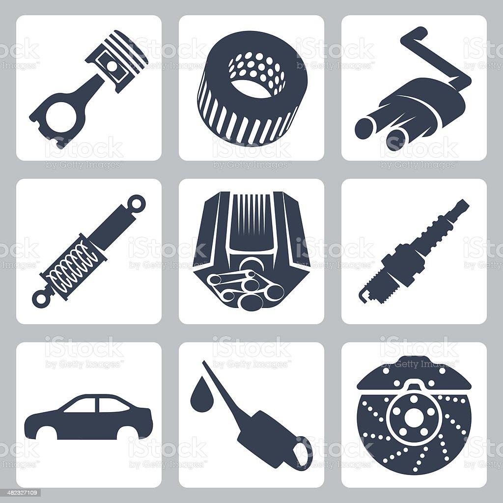 Vector car parts icons set vector art illustration