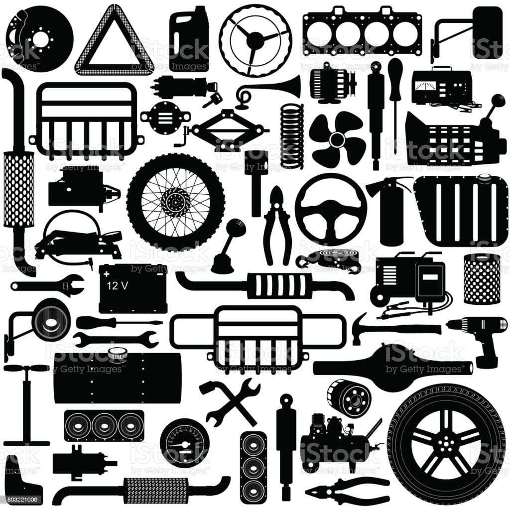 Vector Car Parts Pictogram royalty-free vector car parts pictogram stock illustration - download image now