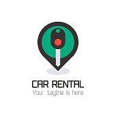 Vector car rentals label, sign. Concept for automobile repair service, spare parts store