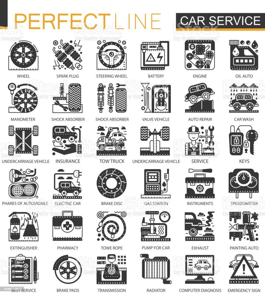 Vector Car Service Black Mini Concept Icons And Infographic Symbols