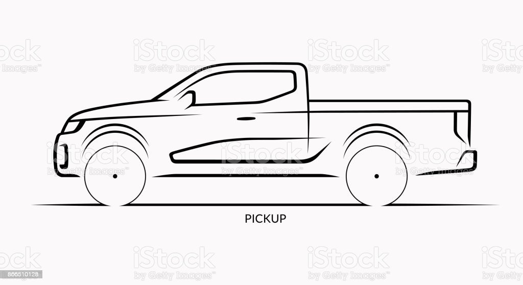 Vector car silhouette. Side view of pickup vector art illustration