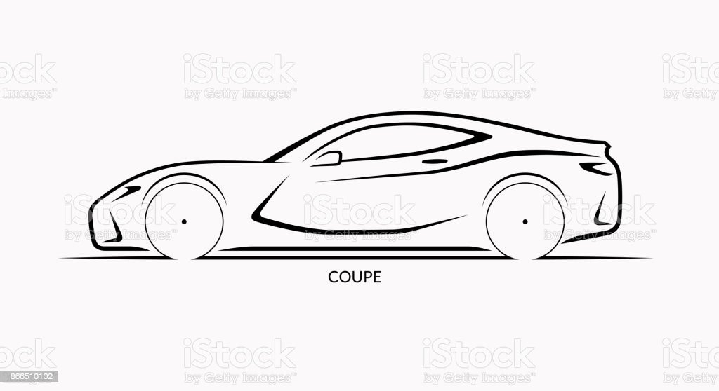 Vector Car Silhouette Side View Of Sports Coupe Stock Vector Art
