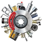 istock Vector Car Spares Concept with Disk Brake 488844774