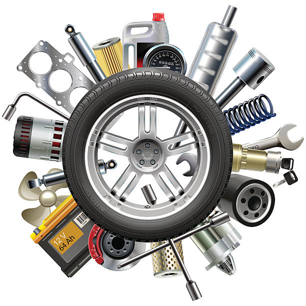 Vector Car Spares Concept with Wheel Vector car spares, including brake disk, canister, filter, starter, wrench, spring and other, around the wheel, isolated on white background vehicle part stock illustrations