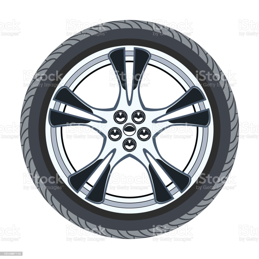 vector car tire and alloy wheel vector art illustration