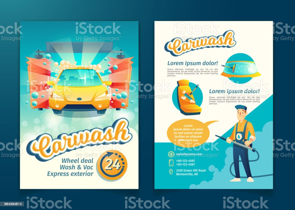 Vector car washing service flyer, ad poster