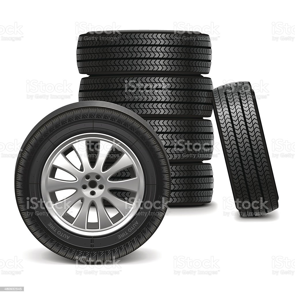 Vector Car Wheels vector art illustration