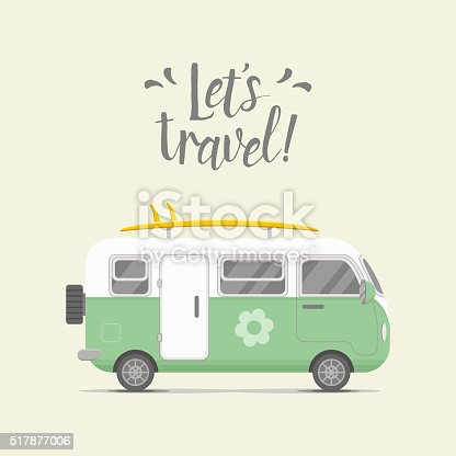 Vector caravan trailer. Mobil home vector illustration. Traveler truck flat vector icon.  Family traveler truck summer trip concept. Logo or emblem concept. Lets travel