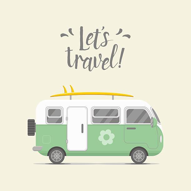 vektor-caravan anhänger. anhänger startseite illustrationen - tour bus stock-grafiken, -clipart, -cartoons und -symbole