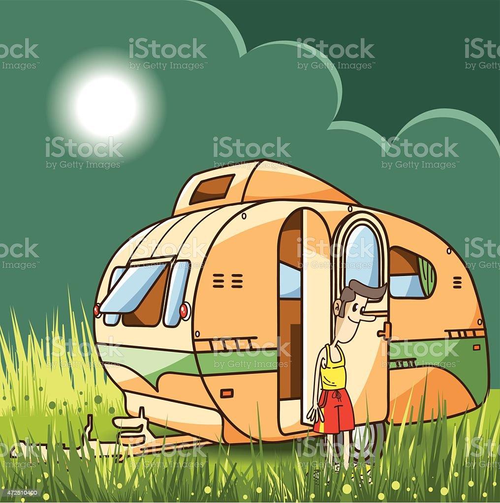 vector caravan vector art illustration