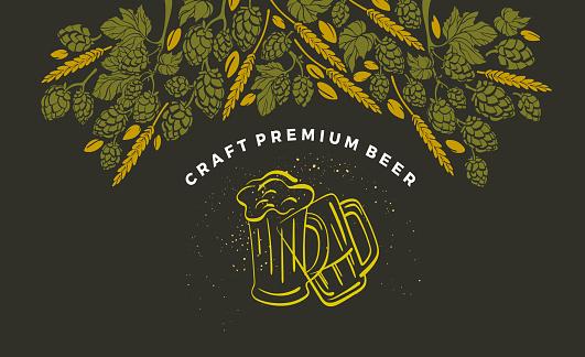 Vector card. Beer. Twig of hop, malt, wheat grain