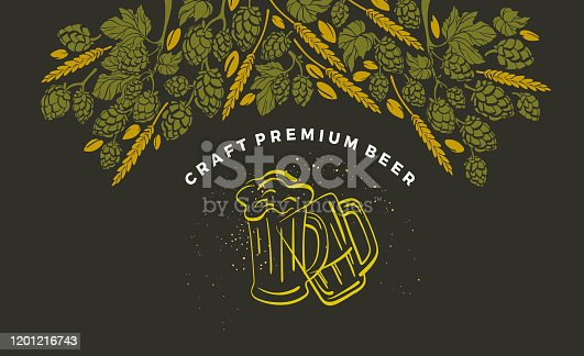 Vector beer ingredient of twig of hop, malt, wheat grain. Design template with hand-drawn graphic illustration in doodle style. Alcohol craft background, art template. Organic natural beverage