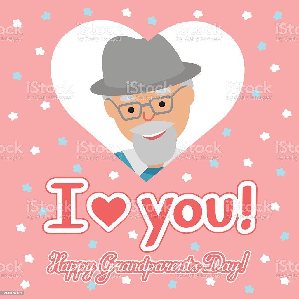Vector Card Elderly Man Heart Congratulation Day Grandparents Stock