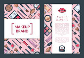Vector card, flyer, brochure template for beauty brand, presentation with hand drawn makeup background and wide white ribbons with shadows illustration