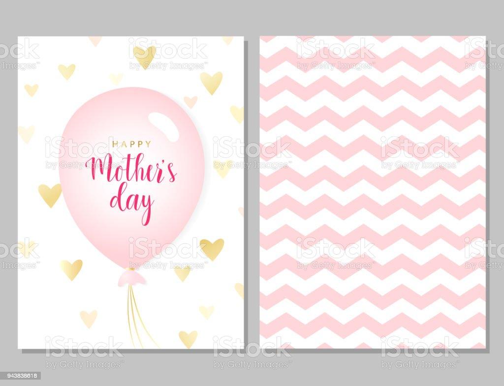 Vector Kaart Voor Moederdag Schattig Roze Wenskaarten Met Ballon