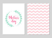 Happy mother's day template cards set. Vector greeting card with rose floral pattern and text in floral frame. Greeting cute pink card for Mother's day.