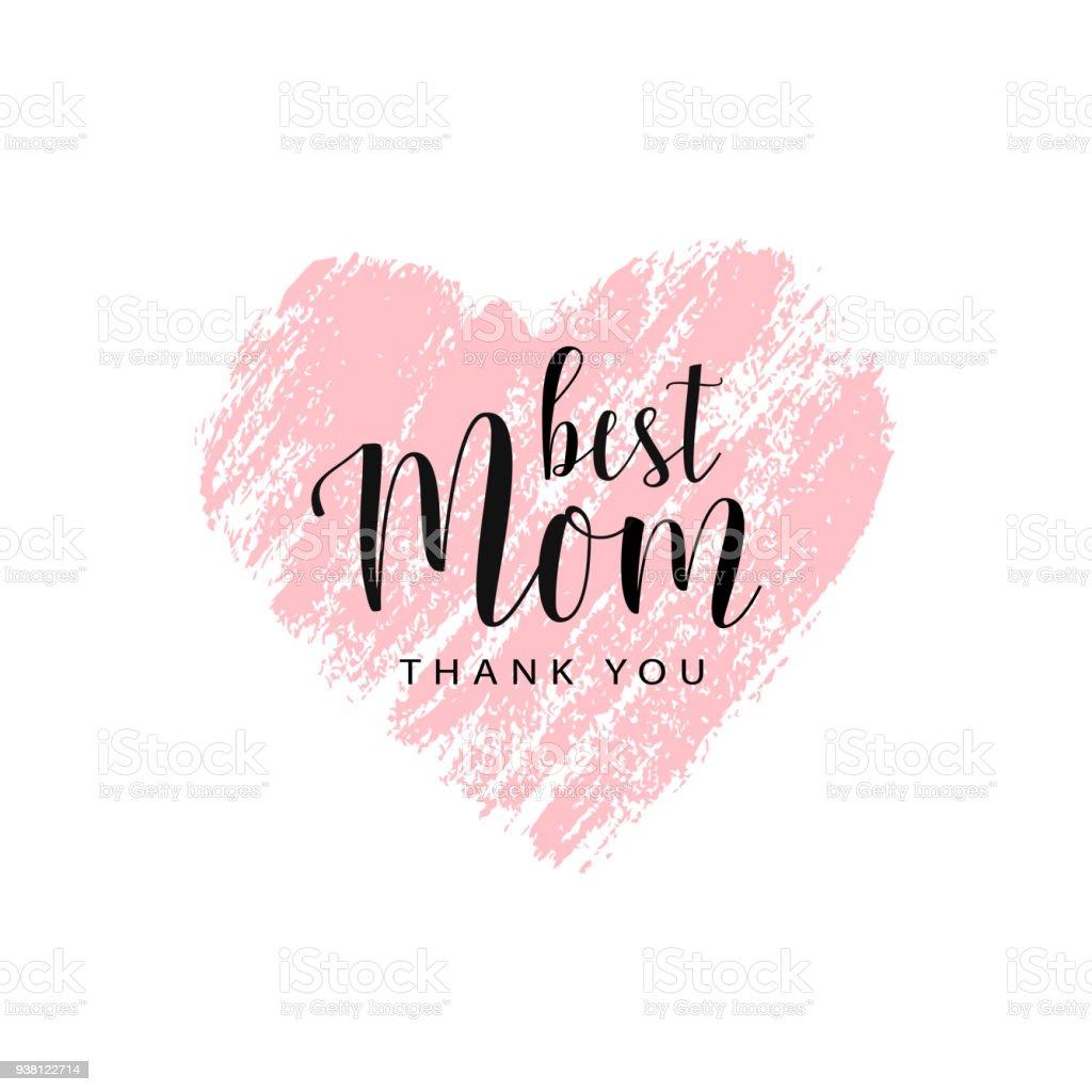 Tarjeta de vectores para el día de la madre con corazón de cepillo - ilustración de arte vectorial
