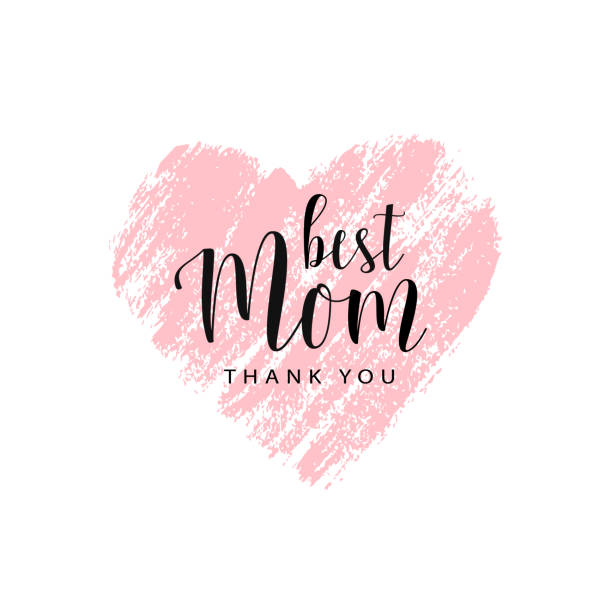Vector card for Mother's day with brush heart Mother's day card. Best Mom, thank you. Pink hand drawn brush heart with text. Romantic vector trace of pink  lipstick. Vector card, badge for Mother's day. Love Mom concept make up brush stock illustrations