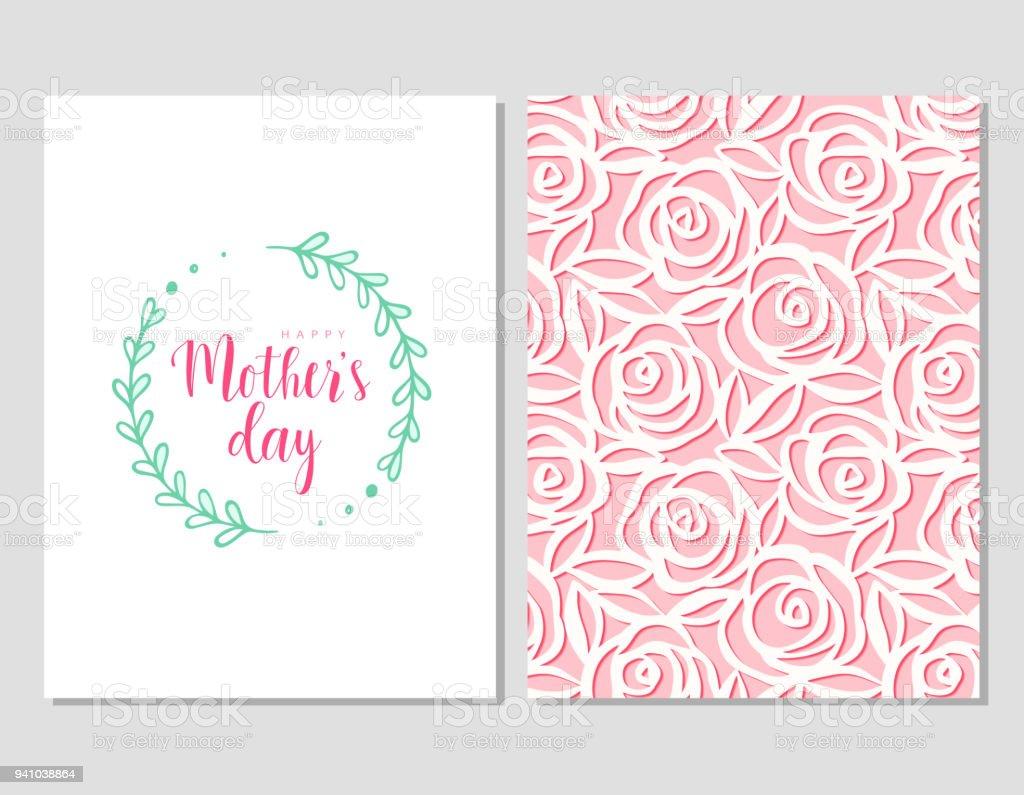 Ilustración de Tarjeta Para El Día De La Madre Con Flores Marco Y ...