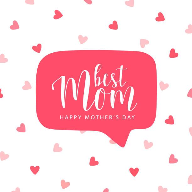 stockillustraties, clipart, cartoons en iconen met vector kaart voor moederdag met rode tekstballon - romantiek begrippen