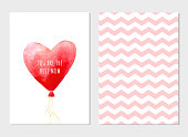 Vector card for Mother's day with watercolor heart balloon