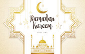 Vintage Ramadan Kareem card. Holiday banner with calligraphy, gold frame, crescent, mosque for muslim celebration. Decor in Eastern style. Islamic backdrop for Muslim feast of the holy of Ramadan month.