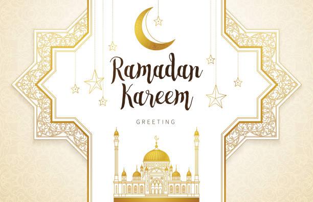 vektorkarte für ramadan kareem gruß. - ramadan kareem stock-grafiken, -clipart, -cartoons und -symbole