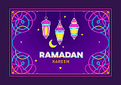 Vector Ramadan Kareem card, ornate invitation to Iftar party celebration. Lanterns for Ramadan wishing. Arabic shining lamps. Cards for Muslim feast of the holy of Ramadan month. Eastern style.Vector Ramadan Kareem card. Bright lanterns for Ramadan wishing. Arabic shining lamps. Decor in Eastern style. Islamic background. Card for Muslim feast of the holy of Ramadan month.